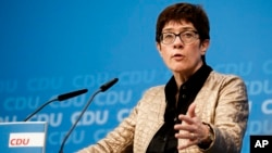 FILE - Germany's Christian Democratic party's, CDU, general secretary Annegret Kramp-Karrenbauer gives a statement in Berlin, Oct. 28, 2018.