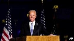 លោក Joe Biden ថ្លែងកាលពីថ្ងៃសៅរ៍ ទី៧ ខែវិច្ឆិកា ឆ្នាំ២០២០ នៅក្នុងទីក្រុង Wilmington រដ្ឋDelware។ (រូបថត AP)