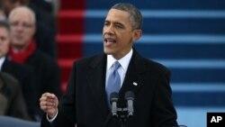 바락 오바마 미국 대통령이 지난 21일 미국 국회의사당에서 열린 2기 취임식에서 연설하고 있다.