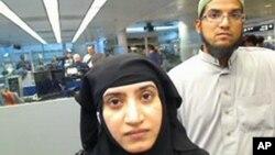 Hình ảnh của cơ quan Hải quan và Bảo vệ Biên giới ngày 27/7/2014 cho thấy Tashfeen Malik, và Syed Farook đi qua sân bay quốc tế O'Hare ở Chicago.