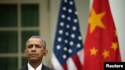U.S. President Barack Obama faces a joint news conference with Chinese President Xi