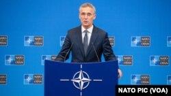 Sekretaris Jenderal NATO,Jens Stoltenbergberbicara di Brussels, Belgia.