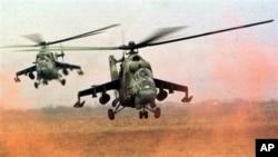 Вертолеты Ми-24, состоящие на вооружении сирийской армии (архивное фото)