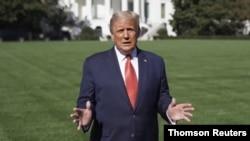 پرزیدنت ترامپ در صحنهای از ویدئویی که صبح پنجشنبه ۱۷ مهر در توئیتر منتشر کرد