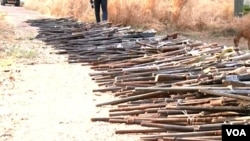 Weapons seized from suspected terrorists, high way robbers and poachers are displayed in Garoua, Cameroon, Dec. 15, 2019. (Moki Edwin Kindzeka/VOA)