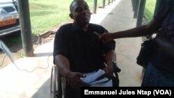 Étienne Roland Ngo'o, meneur de la grève et président du syndicat pour l'émergence sociale au Cameroun, le 13 mars 2017. (VOA/Emmanuel Jules Ntap)