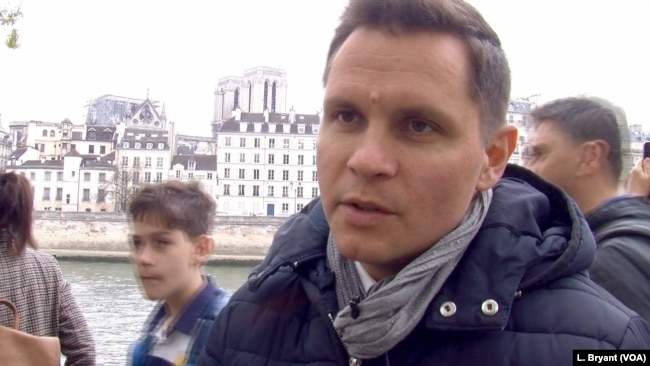 Nicolas Chouin believes Notre Dame's fire may help heal a fractured France. (L. Bryant/VOA)