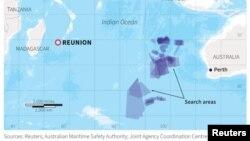 Локацијата на островот Ренуион каде што беше пронајден остаток од авион и локациите каде што претходно се водеше потрагата по исчезнатиот авион на Малезија ерлајнс