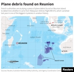 This map of the Indian Ocean shows the location of Reunion Island and the search areas since Malaysia Airlines Flight MH370 disappeared in 2014.