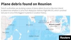 Mapa Indijskog okeana pokazuje lokaciju ostrva Reunion i područje gde se vodila potraga za nestalim avionom Malezija Erlajnz MH 370.
