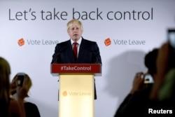 Vote Leave campaign leader Boris Johnson speaks in London. (Reuters)