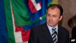 Bộ trưởng Tài chính Mexico Luis Videgaray Caso trong buổi họp báo tại Cung điện quốc gia ở Mexico City.
