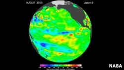 "The latest image of sea surface heights in the Pacific Ocean from NASA's Jason-2 satellite shows that the equatorial Pacific Ocean is now in its 16th month of being locked in what some call a neutral, or ""La Nada"" state."