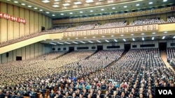Suasana sidang tahunan Parlemen Korea Utara (Foto: dok). Bulan depan Kim Jong Un akan memimpin sidang ini untuk pertama kalinya.