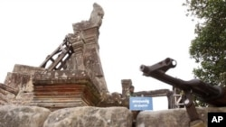 Cambodia says the 11th-Century temple was damaged by Thai artillery in border clashes in February and has asked Unesco to assess the damage.