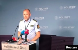 Rune Skjold, assistant chief of police, holds a news conference after a shooting in al-Noor Islamic center mosque, in the police headquarters in Oslo, Norway, Aug. 10, 2019.