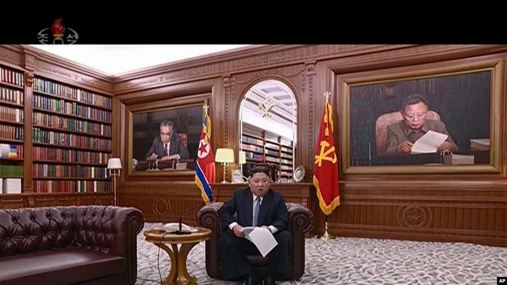 Ông Kim Jong un đang phát biểu đầu năm mới