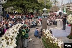 台北228公园内举办的纪念活动。(美国之音记者方正拍摄)