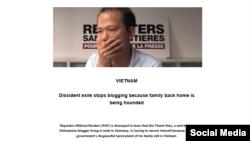 Tổ chức Phóng viên Không biên giới lên tiếng về tình trạng gia đình Blogger Bùi Thanh Hiếu bị chính quyền Việt Nam sách nhiễu, ngày 02/03/2020. Photo RSF