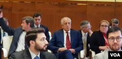 FILE - U.S. Special Representative for Afghanistan Reconciliation Zalmay Khalilzad attends the opening of the intra-Afghan dialogue before leaving Afghans to talk among themselves, in Doha, Qatar, July 7, 2019. (A. Tanzeem/VOA)