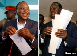 FILE - A combination picture shows Kenyan opposition leader Raila Odinga, the presidential candidate of the National Super Alliance (NASA) coalition, and Kenya's President Uhuru Kenyatta casting their vote during the presidential election, Kenya, Aug. 8, 2017.