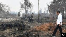 Presiden Jokowi saat meninjau lokasi kebakaran hutan di Pelalawan, Riau, 17 September 2019.
