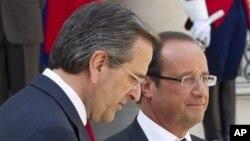 Yunanistan Başbakanı Antonis Samaras Fransa Cumhurbaşkanı Francois Hollande ile..