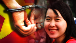 Cô Nguyễn Phương Uyên, sinh viên đại học Công nghệ Thực phẩm, bị công an bắt đi từ nhà trọ hôm 14/10 với cáo buộc tham gia rải truyền đơn kêu gọi chống Trung Quốc và chống tham nhũng.