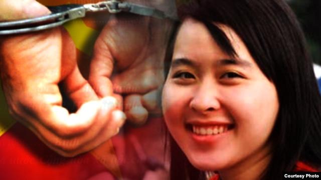 Cô Nguyễn Phương Uyên, sinh viên đại học Công nghệ Thực phẩm, bị công an bắt đi từ nhà trọ hôm 14/10 với cáo buộc tham gia rải truyền đơn kêu gọi chống Trung Quốc và chống tham nhũng