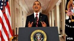 Presiden Obama memberikan pidato khusus mengenai resiko gagalnya kenaikan pagu utang AS (25/7).
