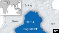 Mapa Iraka sa položajem Tikrita i Bagdada