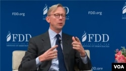 FILE - U.S. Special Representative for Iran Brian Hook speaks at a Foundation for Defense of Democracies forum in Washington, Dec. 10, 2019. (VOA Persian) 