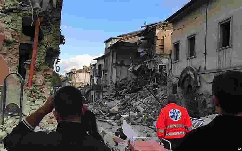 This still image taken from video shows the destruction in Amatrice, central Italy, where the earthquake struck, Aug. 24, 2016.