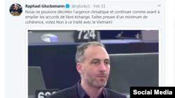 Nghị sĩ Raphael Glucksmann nhắc đến trường hợp nhà báo Phạm Chí Dũng bị bắt giữ. Twitter Raphael Glucksmann.