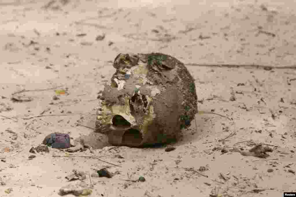 Le crâne d'un homme décapité est apperçu dans une fosse commune dans la ville de Damasak récemment reprise de mains de comabbtants du groupe Boko Haram, vendredi 20 mars 2015.