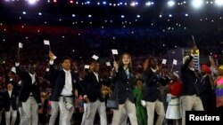 Tim pengungsi pada upacara pembukaan Olimpiade Rio de Janeiro, Brazil, Agustus 2016.