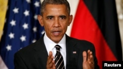 美国总统奥巴马在白宫与德国总理默克尔联合举行的记者会上讲话。(2015年2月9日)