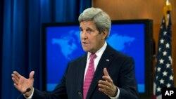 Ngoại trưởng Mỹ John Kerry trình bày Báo cáo 2015 về tình hình nhân quyền tại Bộ Ngoại giao ở Washington, ngày 13/4/2016.