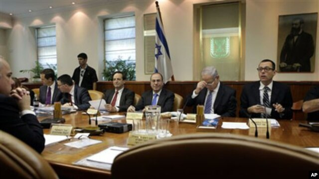 Israeli Prime Minister Benjamin Netanyahu, second right, chairs the weekly cabinet meeting in Jerusalem (file photo)