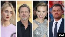 از راست: لئوناردو دی کاپریو، اسکارلت جوهانسون، برد پیت و سورشا رونان از نامزدهای چهار بخش بهترین بازیگر و مکمل زن و مرد