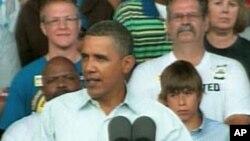 President Barack Obama speaking in Milwaukee, Wisconsin, 06 Sep 2010
