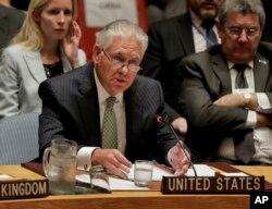 렉스 틸러슨 미 국무장관이 21일 안보리 장관급 회의에서 발언을 하고 있다.