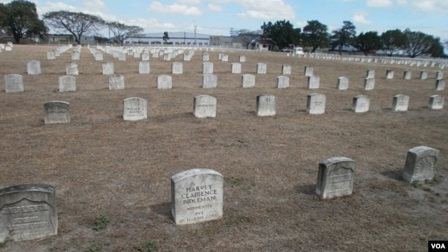 At Clark Veterans Cemetery, the bright white tombstones in the foreground have just been cleaned under a new project that is being funded through donations.
