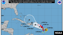 Trayectoria prevista del huracán María según datos del Centro Nacional de Huracanes.