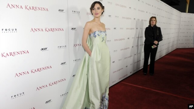 Aktris Inggris Keira Knightley dalam peluncuran perdana film 'Anna Karenina' di Hollywood. (AP/Chris Pizzello)