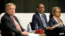 Munyori mukuru weUnited Nations VaAntonio Guterres, Mutungamiri wehurumende yeRwanda VaPaul Kagame uye mutungamiri wenyika yeEthiopia Amai Sahle-Work Zewde kumusangano weAU.