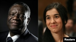 Congolese doctor Denis Mukwege and Yazidi activist Nadia Murad won the 2018 Nobel Peace Prize on October 5, 2018 for their work in fighting sexual violence in conflicts around the world. (AFP PHOTO)