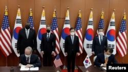 美国和韩国2021年3月18日举行外长和防长2加2会谈(路透社)
