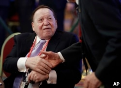 Chairman and Chief Executive Officer of the Las Vegas Sands Corporation, Sheldon Adelson, attends the Republican Jewish Coalition annual leadership meeting, Feb. 24, 2017, in Las Vegas.