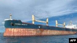 Kapal kargo MV Vienna Wood berlabuh di dekat dermaga Kota Batangas, Filipina, setelah bertabrakan dengan kapal nelayan lokal di provinsi Mindoro Occidental, 29 Juni 2020. (Foto:Penjaga Pantai Filipina (PCG) / AFP).